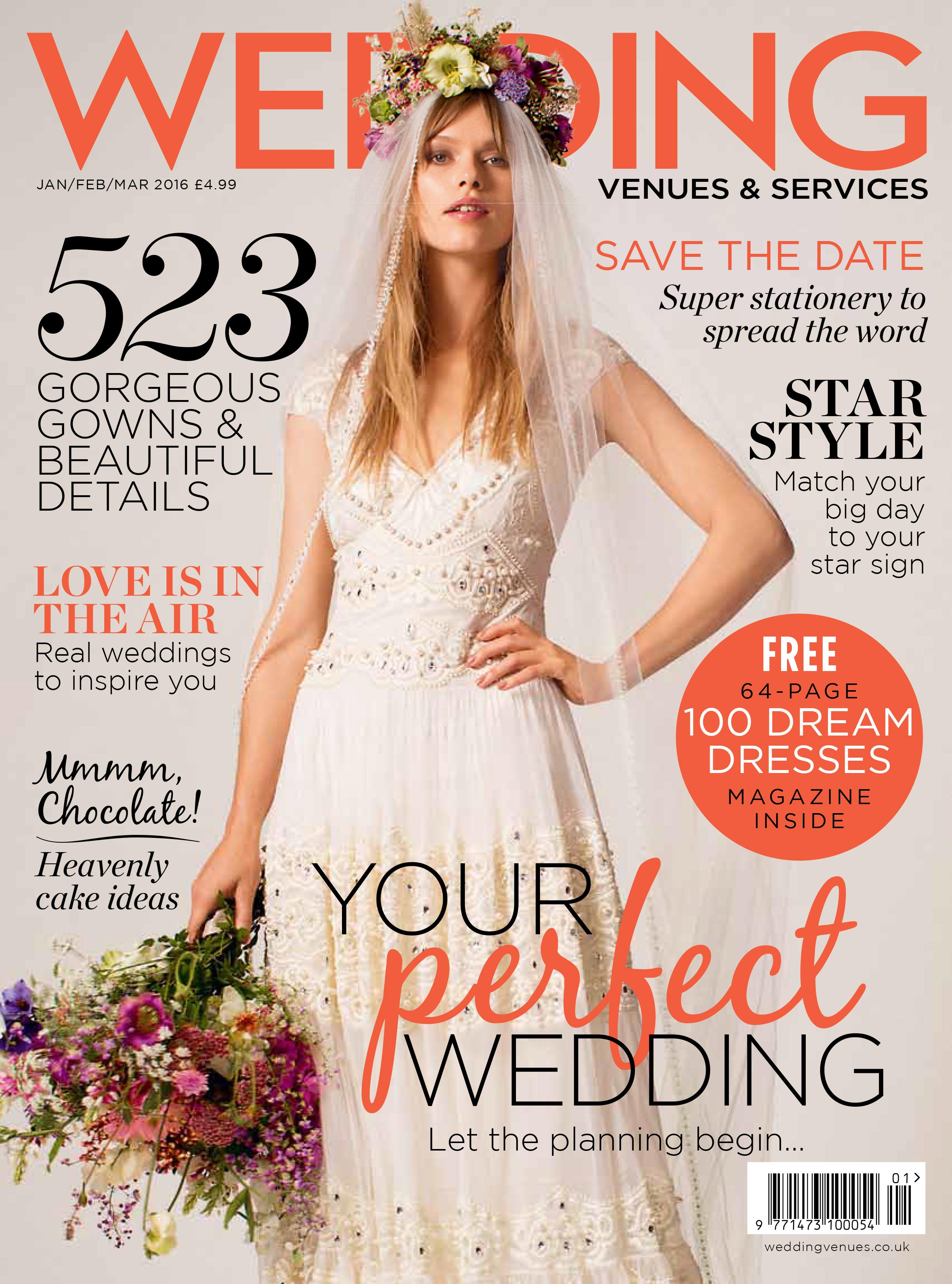 Wedding Venues cover designer wedding dresses by Caroline Castigliano