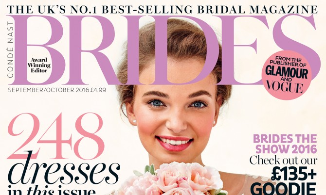 Brides UK cover designer wedding dress by Caroline Castigliano