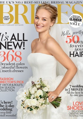 Brides Mag Cover designer wedding dresses by Caroline Castigliano