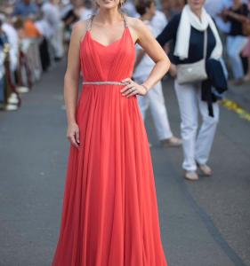 Charlotte Hawkins designer evening gown by Caroline Castigliano