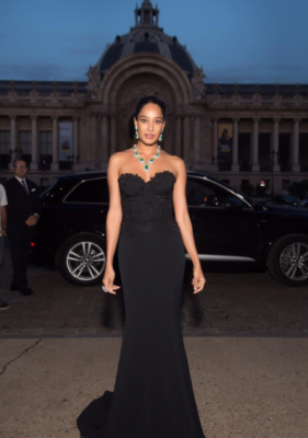 Lisa Haydon wears Caroline Castigliano designer evening dress