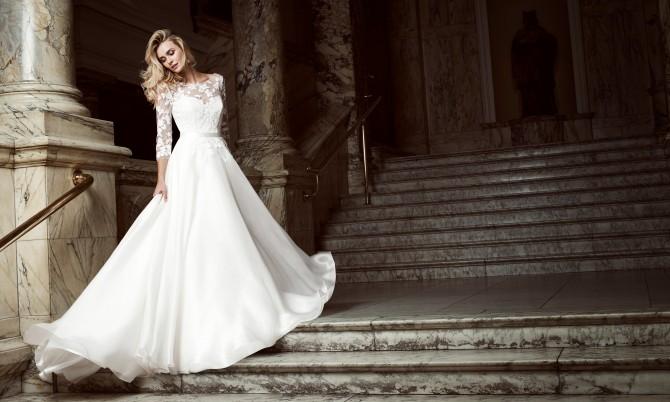 Burgundy designer wedding gown by Caroline Castigliano