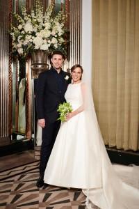 Claire Williams Formula 1 in bespoke designer wedding gown by Caroline Castigliano