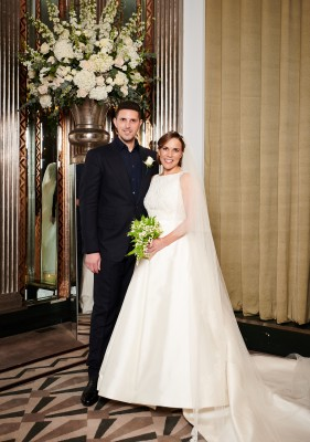 Claire Williams Formula 1 in bespoke designer wedding gown by Caroline Castigliano