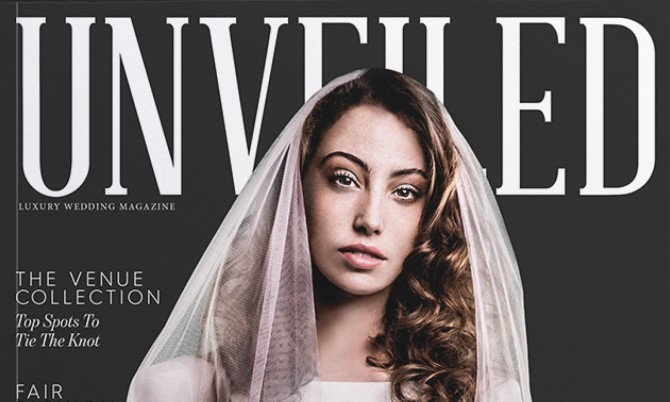 Unveiled Magazine Cover designer wedding dress by Caroline Castigliano