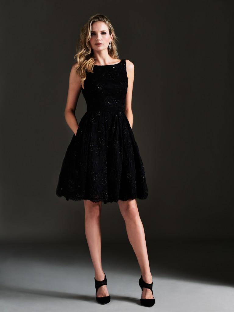 Long Sleeve Square Neck Little Black Dress