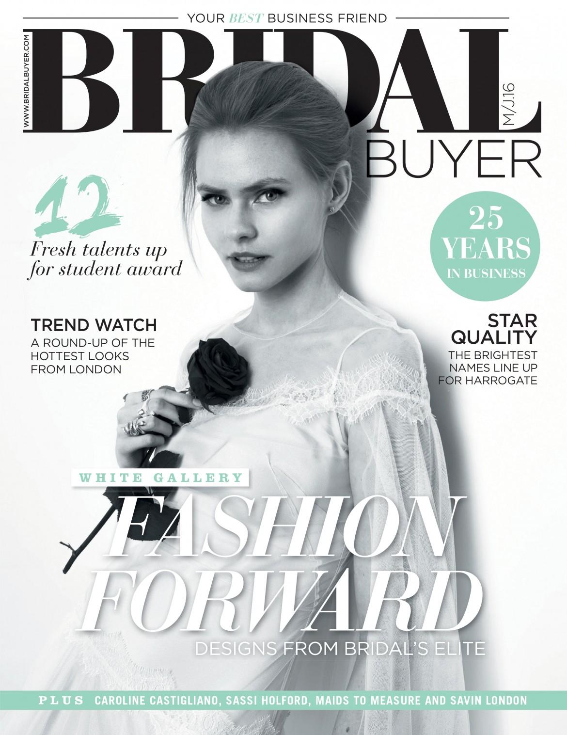 BRIDAL BUYER COVER designer wedding dresses by Caroline Castigliano
