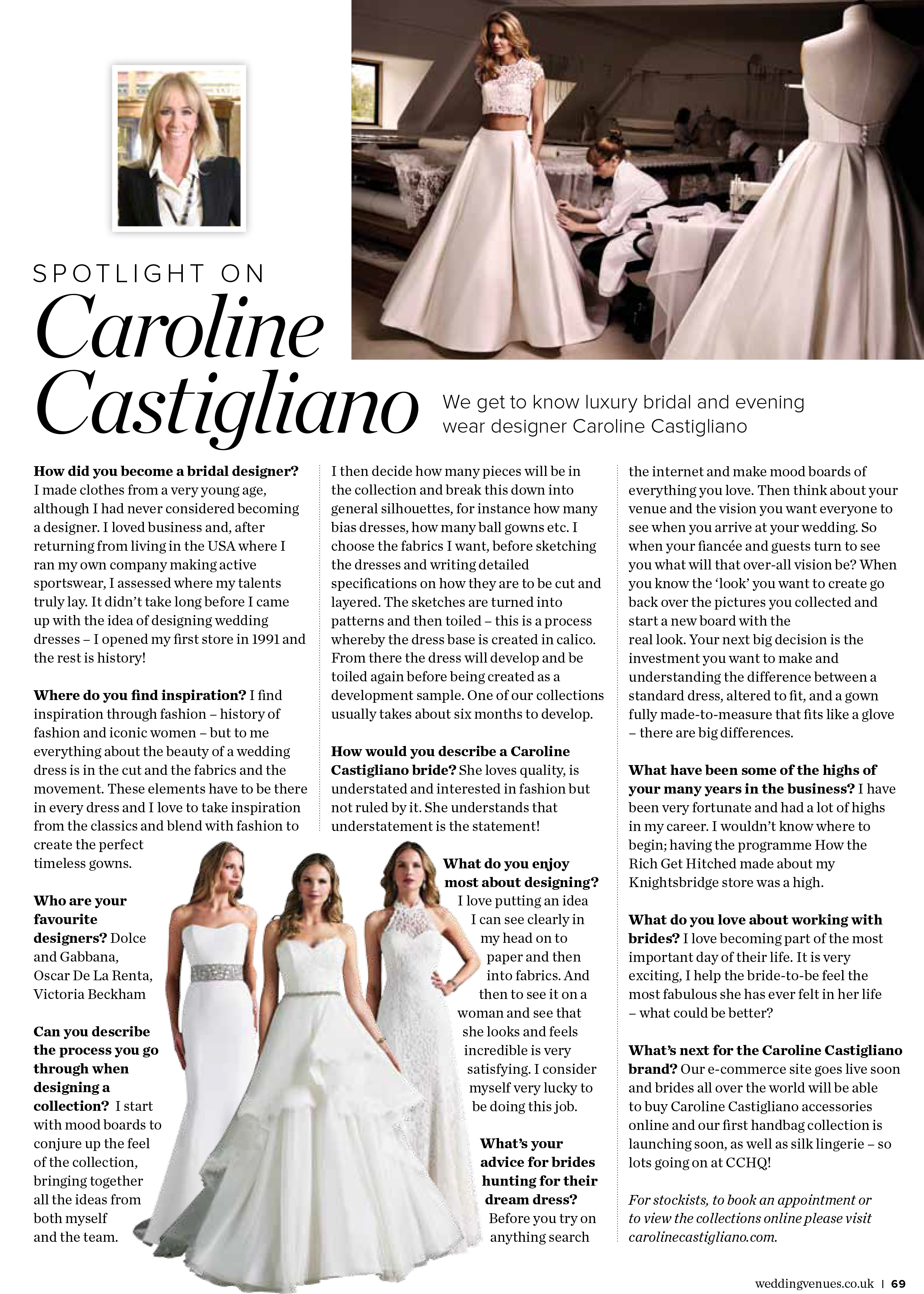 CC Designer Profile WVS designer wedding dresses by Caroline Castigliano