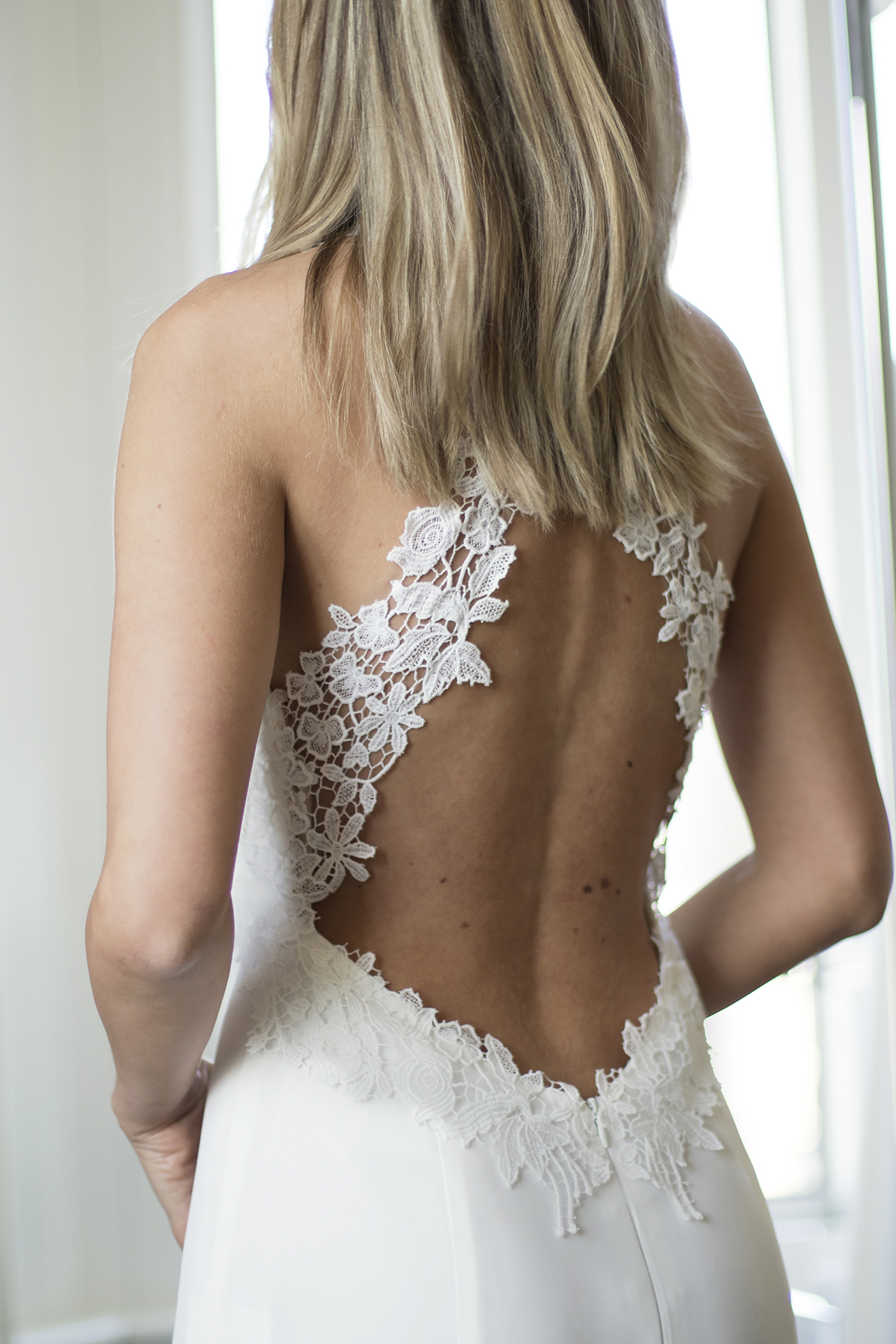 Freya back detail designer wedding dresses by Caroline Castigliano