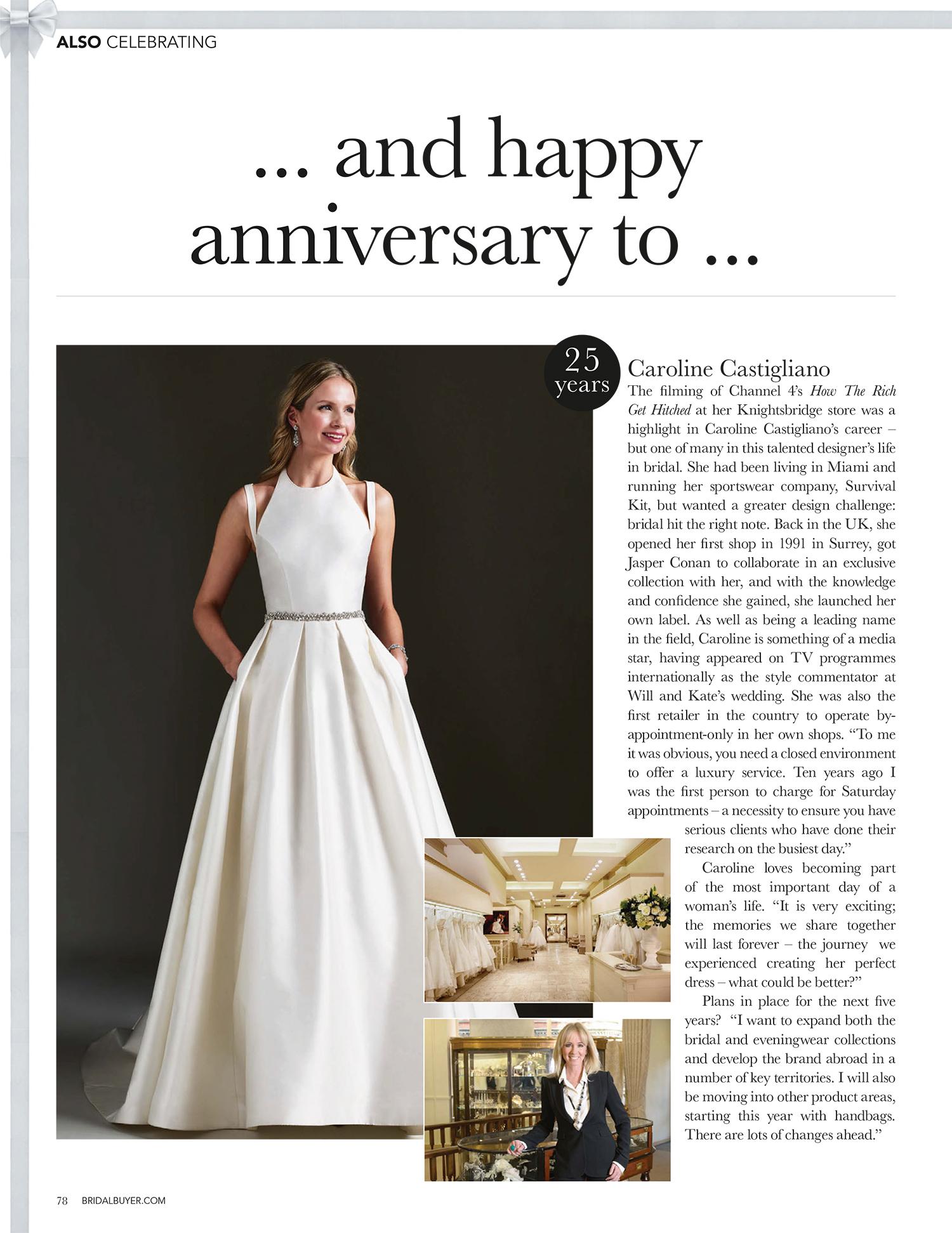Bridal Buyer interview Caroline Castigliano designer wedding gown