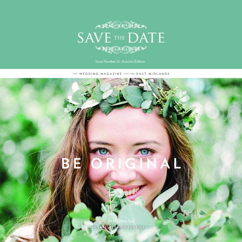 Save The Date Magazine Cover designer wedding dress by Caroline Castigliano