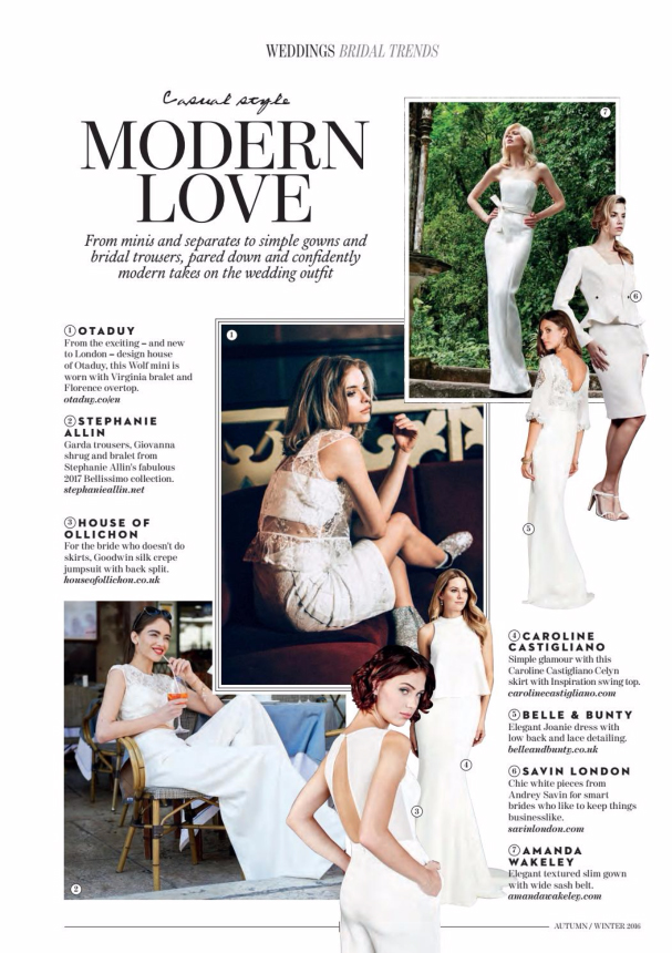 Absolutely Weddings Insipiration & Celyn designer wedding dress by Caroline Castigliano
