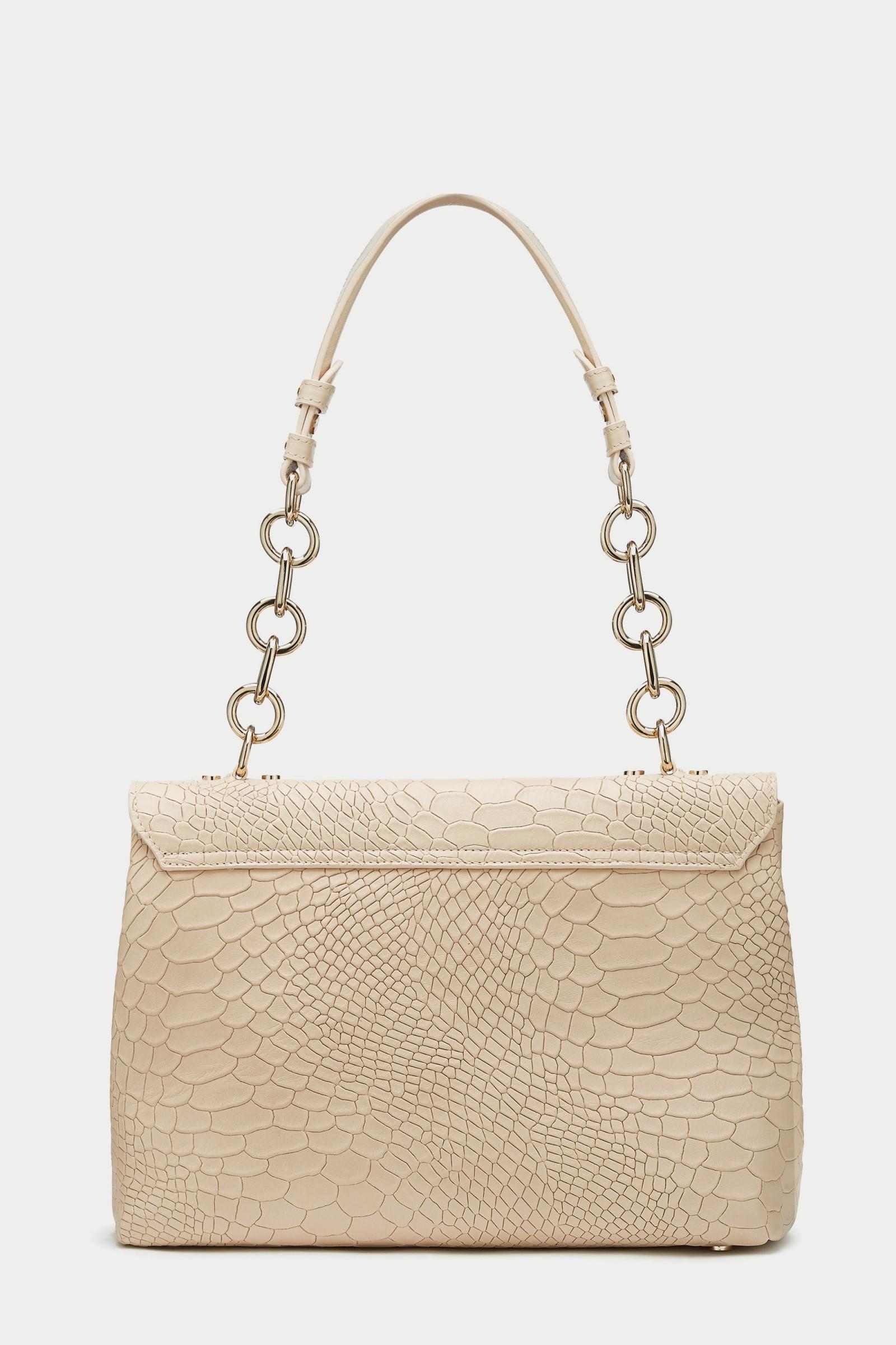 7c839bc5616 ... ccb7003 designer handbags by Caroline Castigliano · Briella ANACONDA  ROSA Pink Leather Handbag