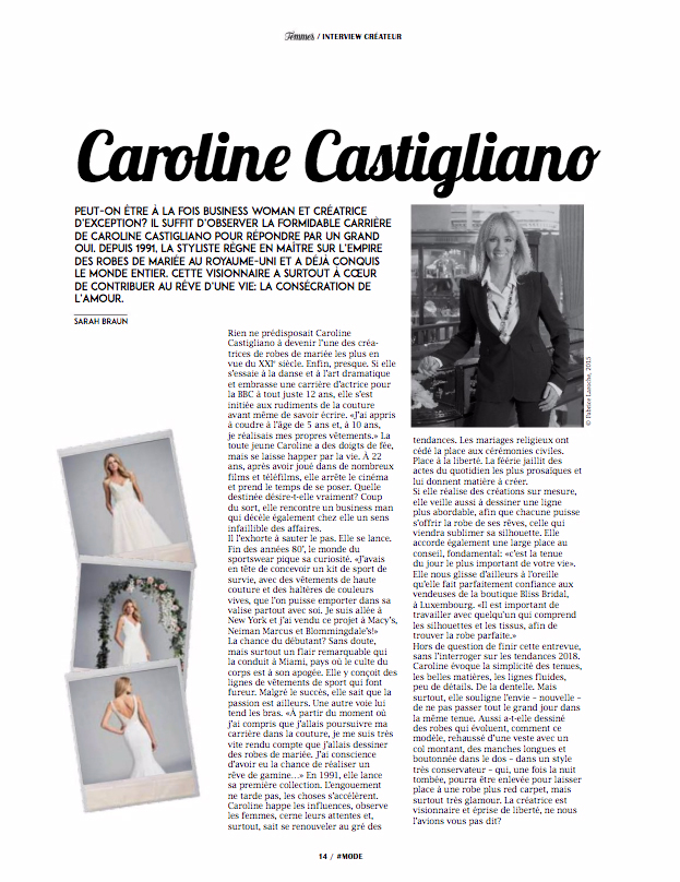 Femmes Interview designer wedding dresses by Caroline Castigliano