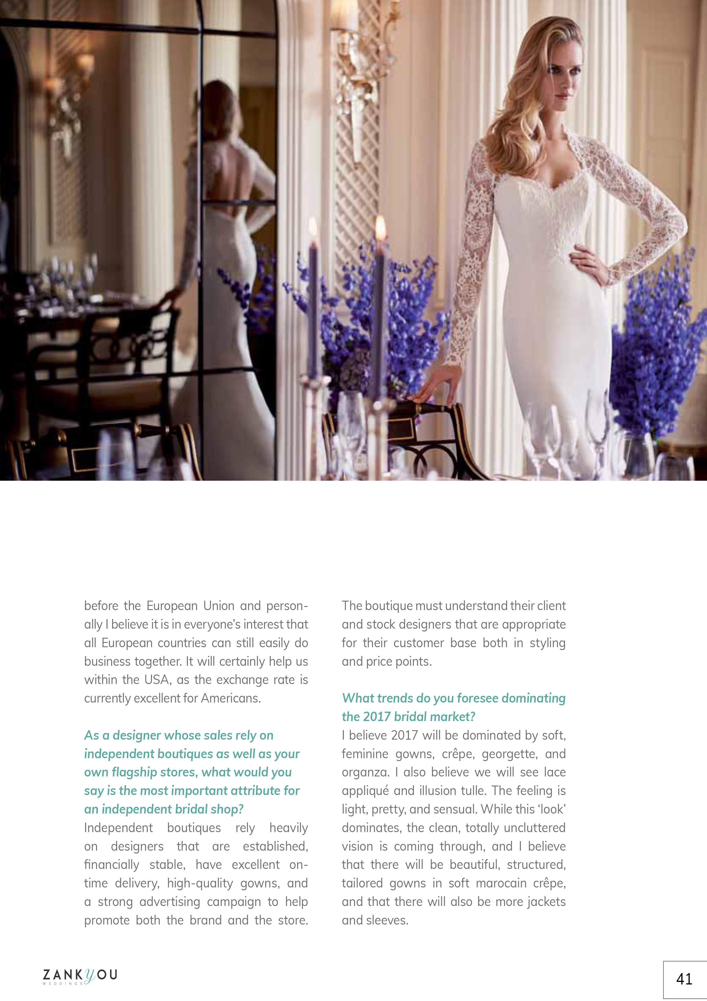 Panache designer wedding dresses by Caroline Castigliano