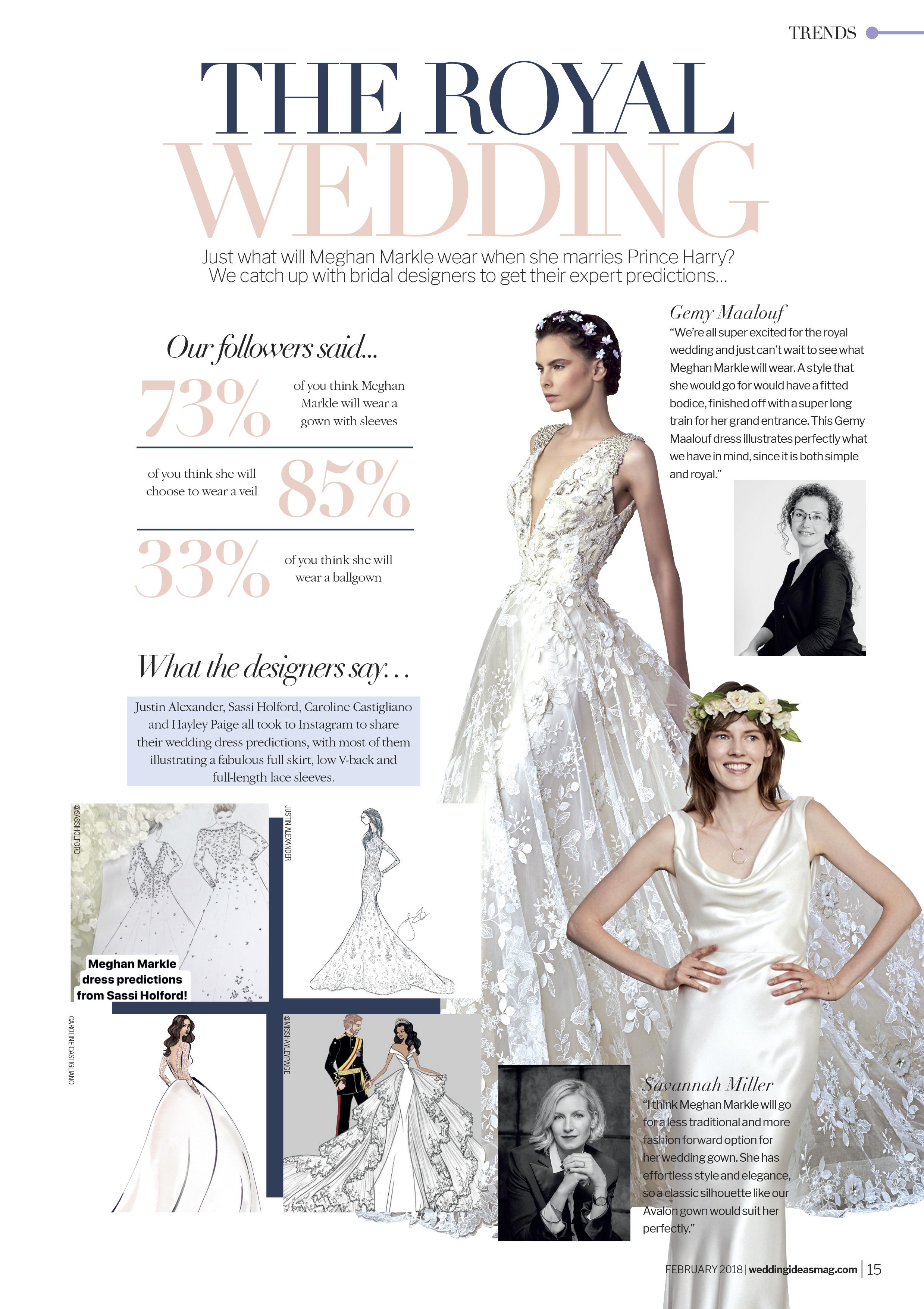 Meghan Markle designer wedding dress by Caroline Castigliano