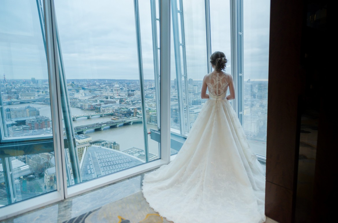 designer wedding gown by Caroline Castigliano