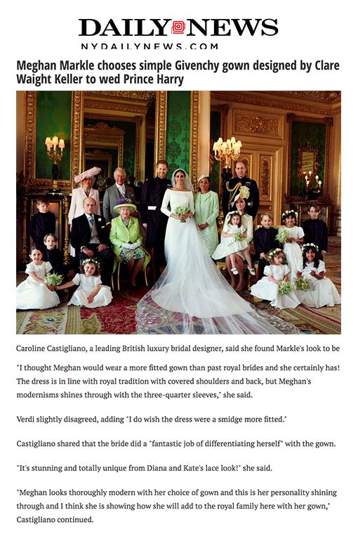 Royal Wedding designer wedding dress by Caroline Castigliano