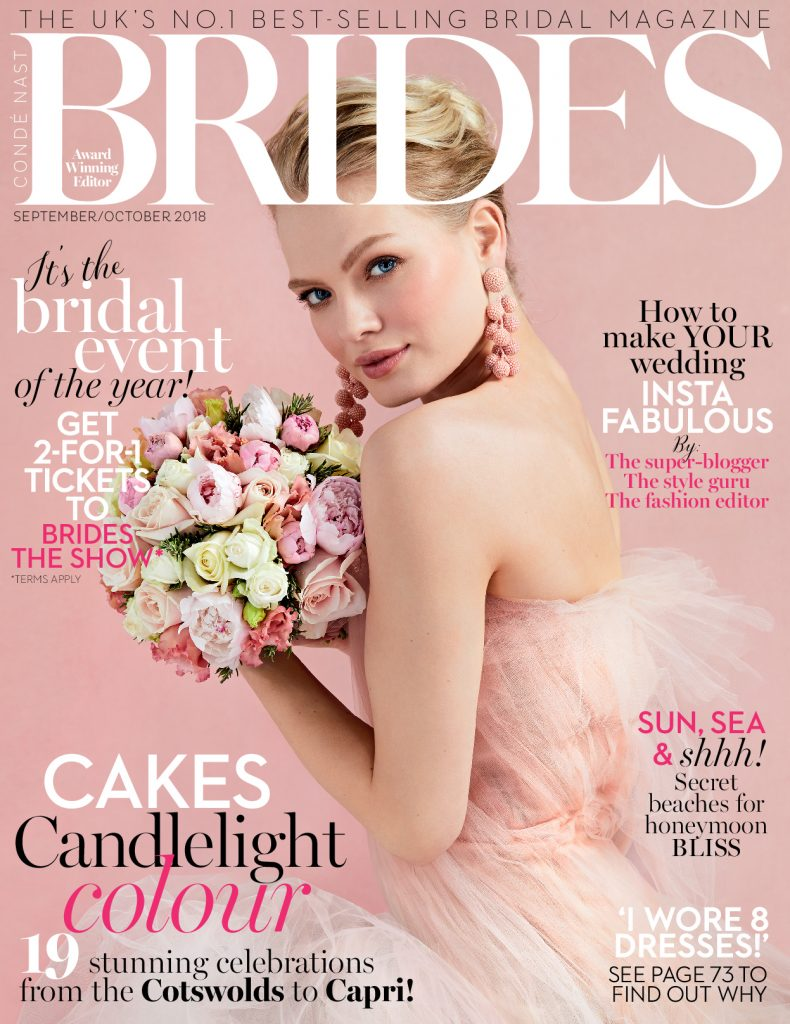 Brides Magazine september october luxury wedding dresses by Caroline Castigliano
